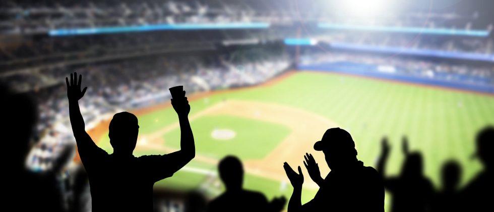 fans cheering at a baseball stadium