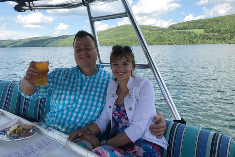 Couple on Otsego Lake Cruise - Cheers
