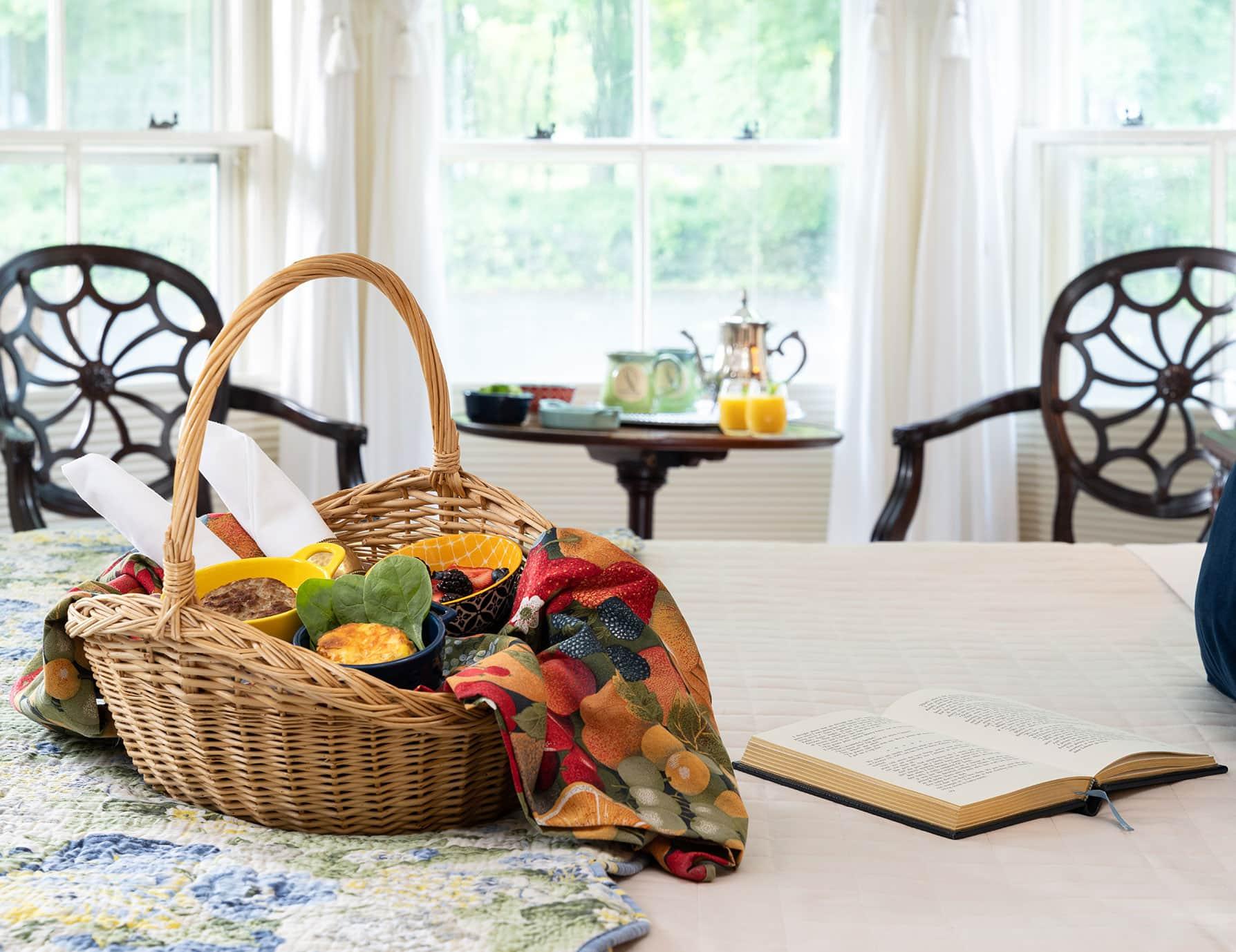 Fruit basket on Chance Room bed
