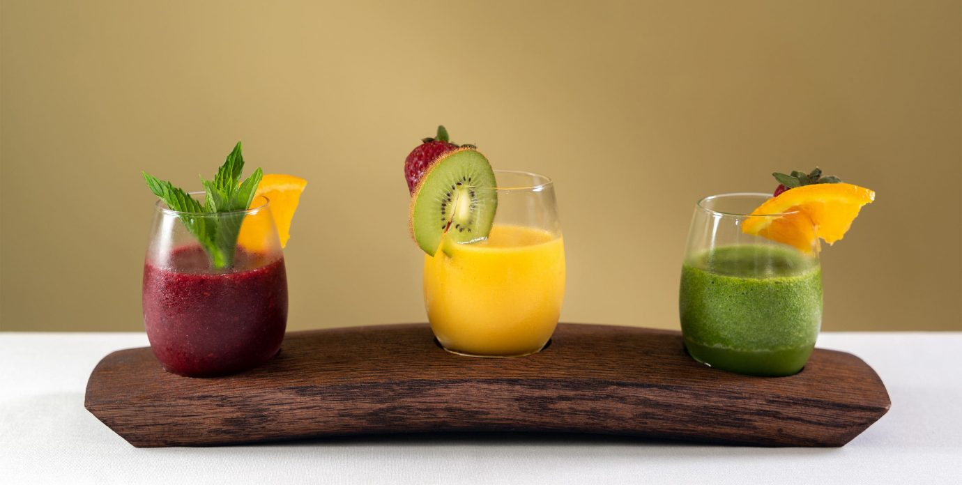 Flight of fresh fruit smoothies - Lodging in Cooperstown, NY