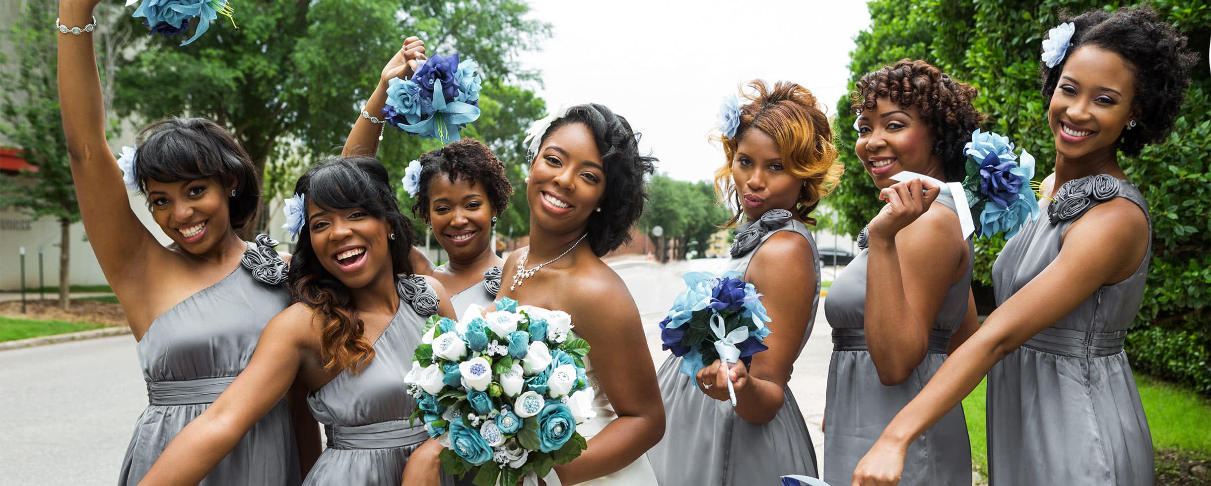 Happy Bride with her Bridesmaids in New York