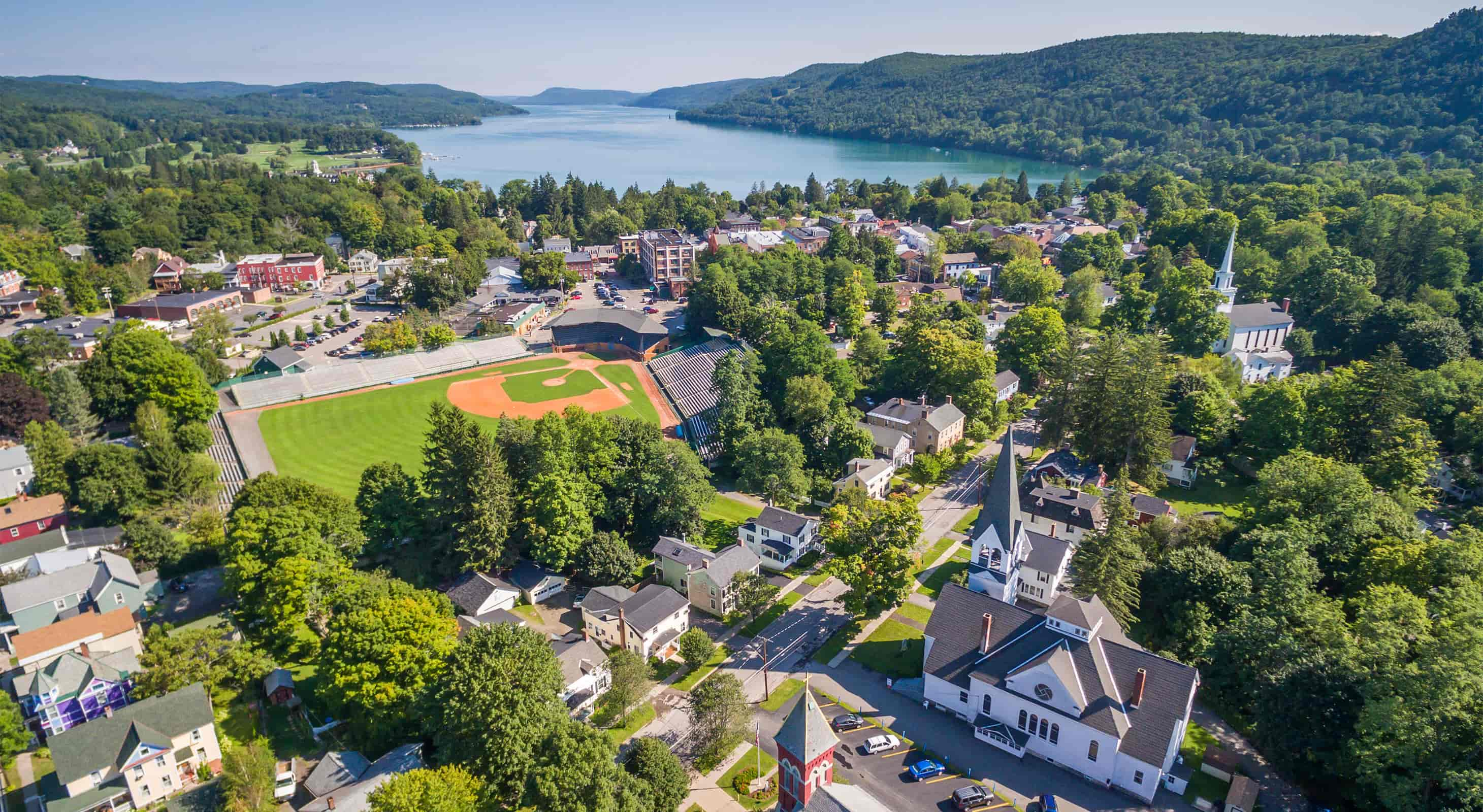 Aerial view of Cooperstown, NY